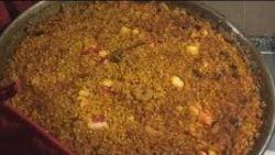 Auténtico arroz a banda Valenciano con carabineros / authentic paella / arroz a banda Valencia Spain