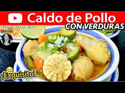 CALDO DE POLLO CON VERDURAS Vicky Receta Facil