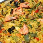 Paella de pollo y chorizo con mariscos - Cocinar con morgane