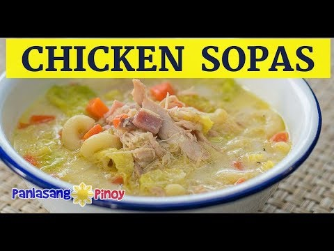 Sopas de macarrones con pollo filipino