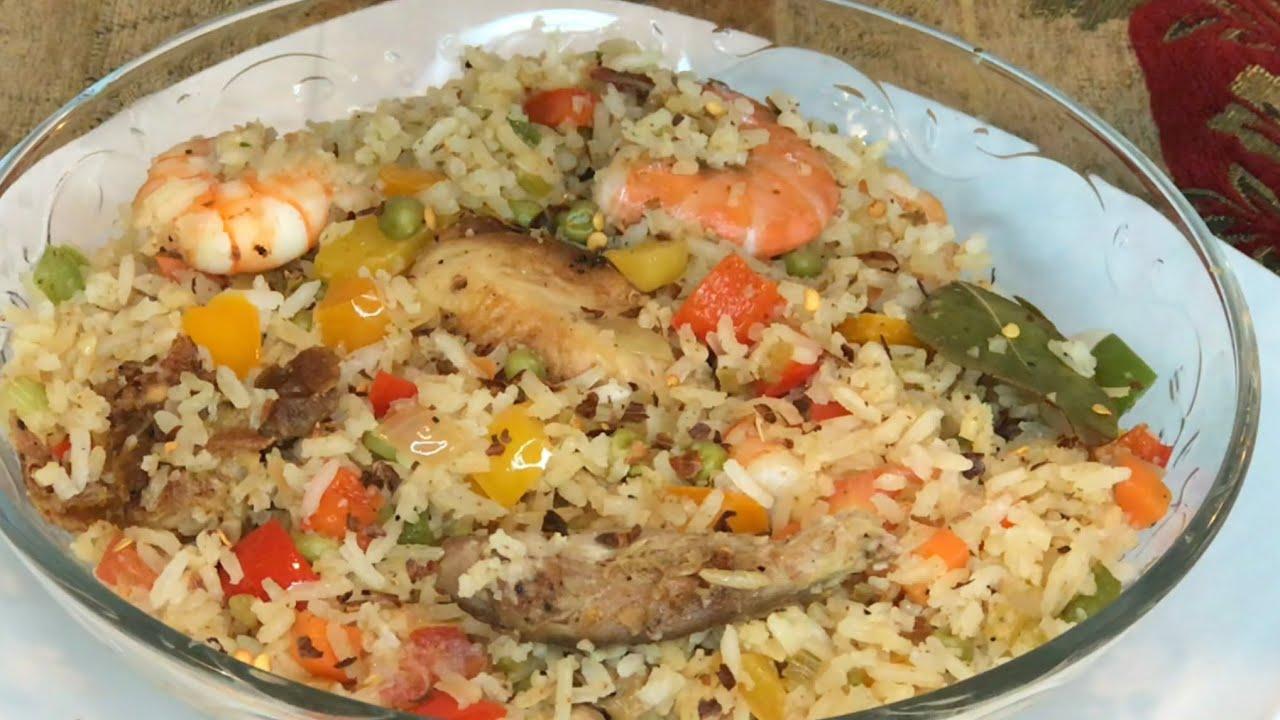 Arroz con pollo y camarones deliciosa receta   fácil de preparar