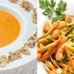 Crema de calabaza y boniato - Espaguetis de calabacín y gambas - Cocina Abierta