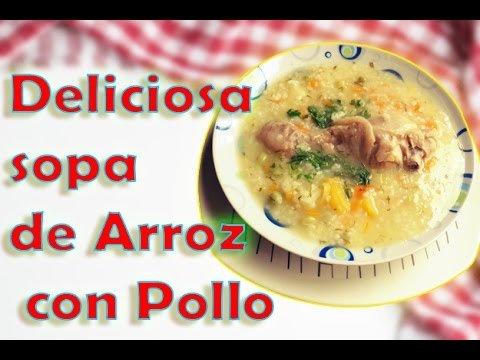 Deliciosa Sopa de arroz y pollo | Fácil