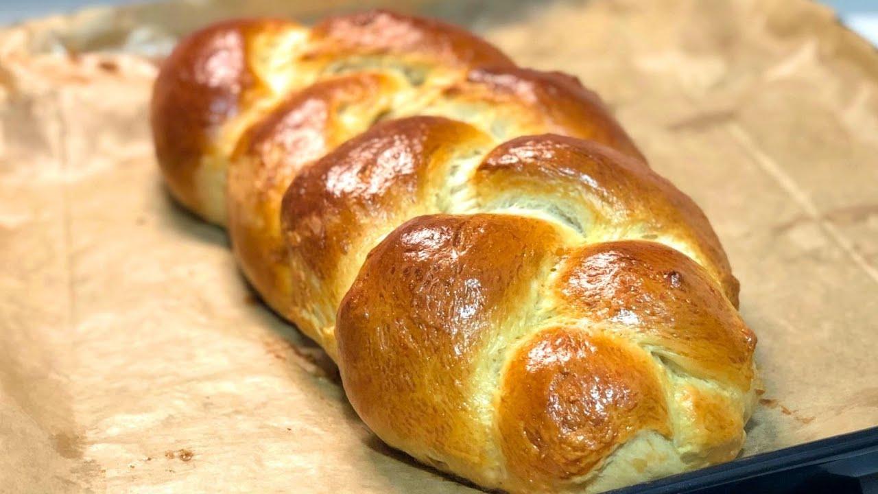 Pan de brioche en trenza. Receta fácil