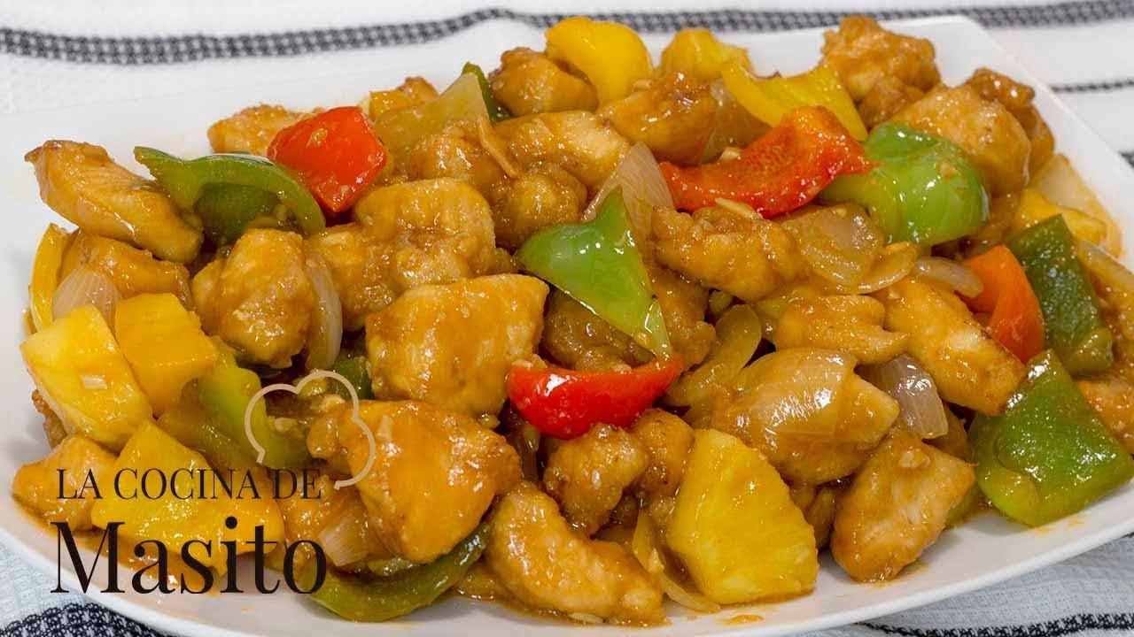 Pollo frito agridulce estilo chino la receta autentica. Receta facil de restaurante chino