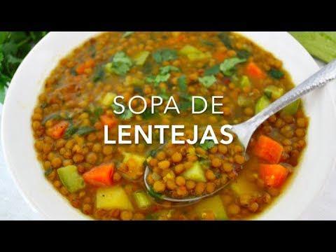 SOPA DE LENTEJAS CON VERDURAS (muy deliciosa & saludable)  - Recetas fáciles Pizca de Sabor