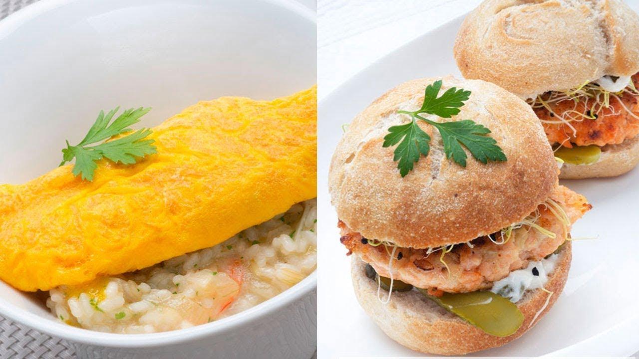Arroz con tortilla - Hamburguesa de salmón - Cocina Abierta