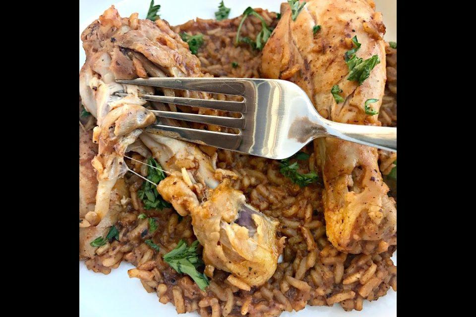 Cómo hacer pollo al horno instantáneo y arroz español Arroz con pollo