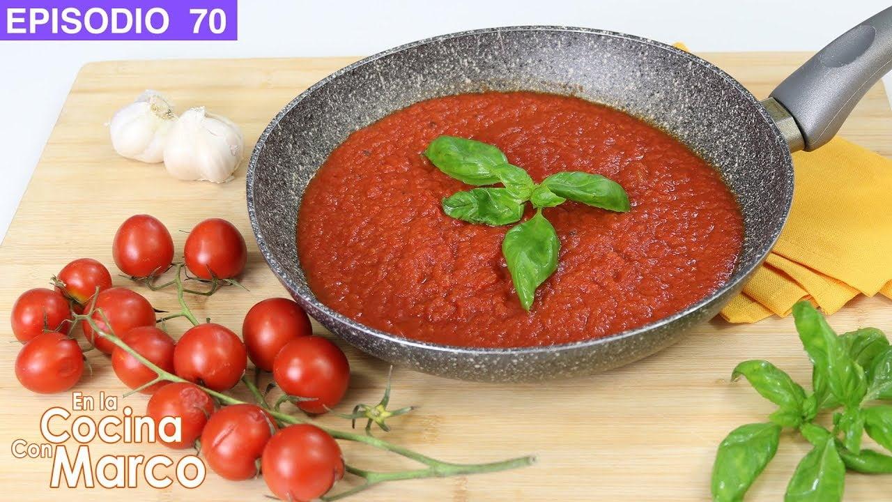 Como hacer salsa de tomate para pasta y pizza - Receta italiana casera