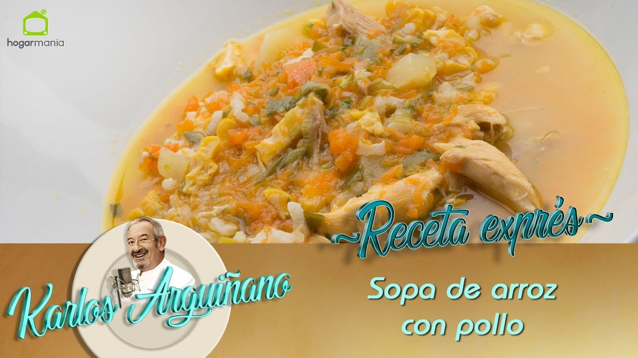 Receta de Sopa de arroz con pollo por Karlos Arguiñano