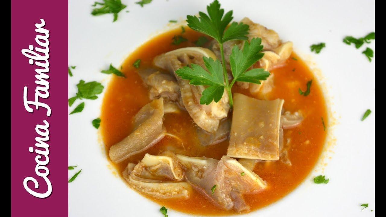 Receta para cocinar oreja de cerdo en salsa picante paso a paso   Recetas caseras de Javier Romero