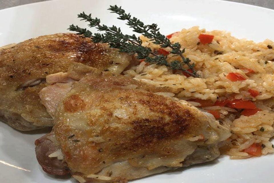 Arroz con pollo a la sartén