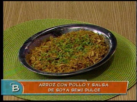 Arroz con pollo y salsa de soya semi dulce