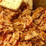 Como elaborar arroz con pollo asado y pisto (sofrito de verduras) en 8 minutos