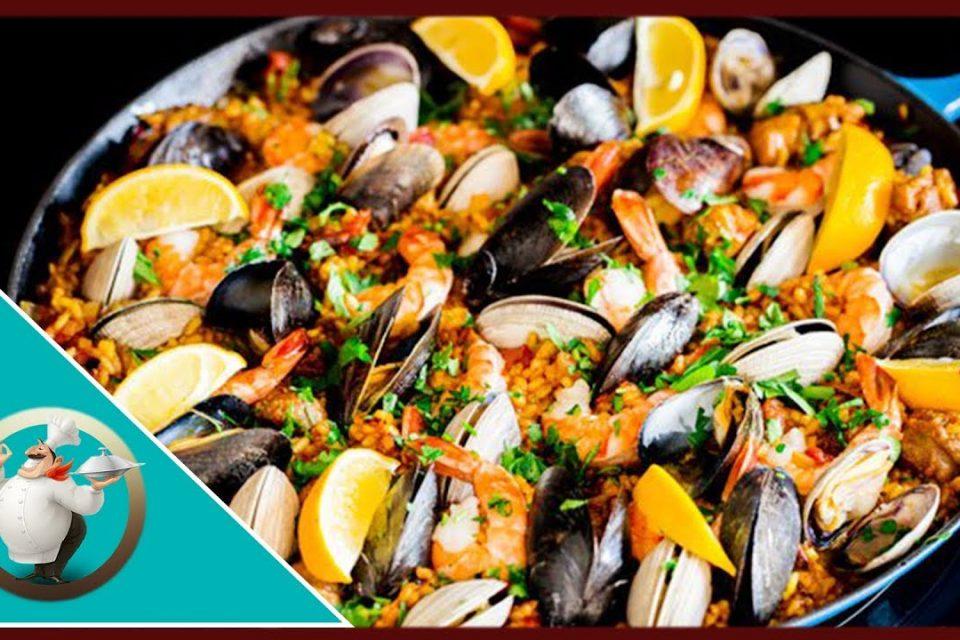 Paella De Pollo Y Mariscos | Plato De Mariscos Y Arroz | 30 minutos de paella