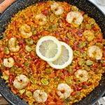 ¨Paella Campera¨ Española con Verduras y Camarones