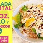 ENSALADA ORIENTAL de ARROZ con POLLO 🥗  Con SALSA de MAYONESA y SOJA