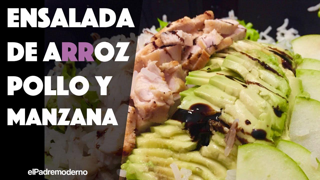 Ensalada de ARROZ con pollo y manzana   Recetas saludables