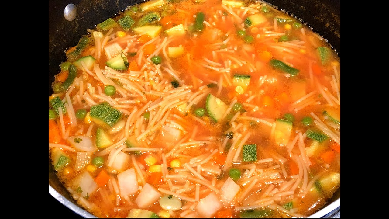Sopa de Fideos con Verduras, Buenísima!