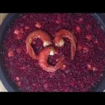 Arroz rojo con carabineros, Red rice with carabineros, authentic Spanish paella
