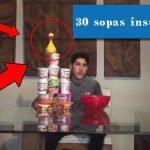 Mezclando 30 sopas instantáneas! La sopa instantánea mas grande del mundo!!