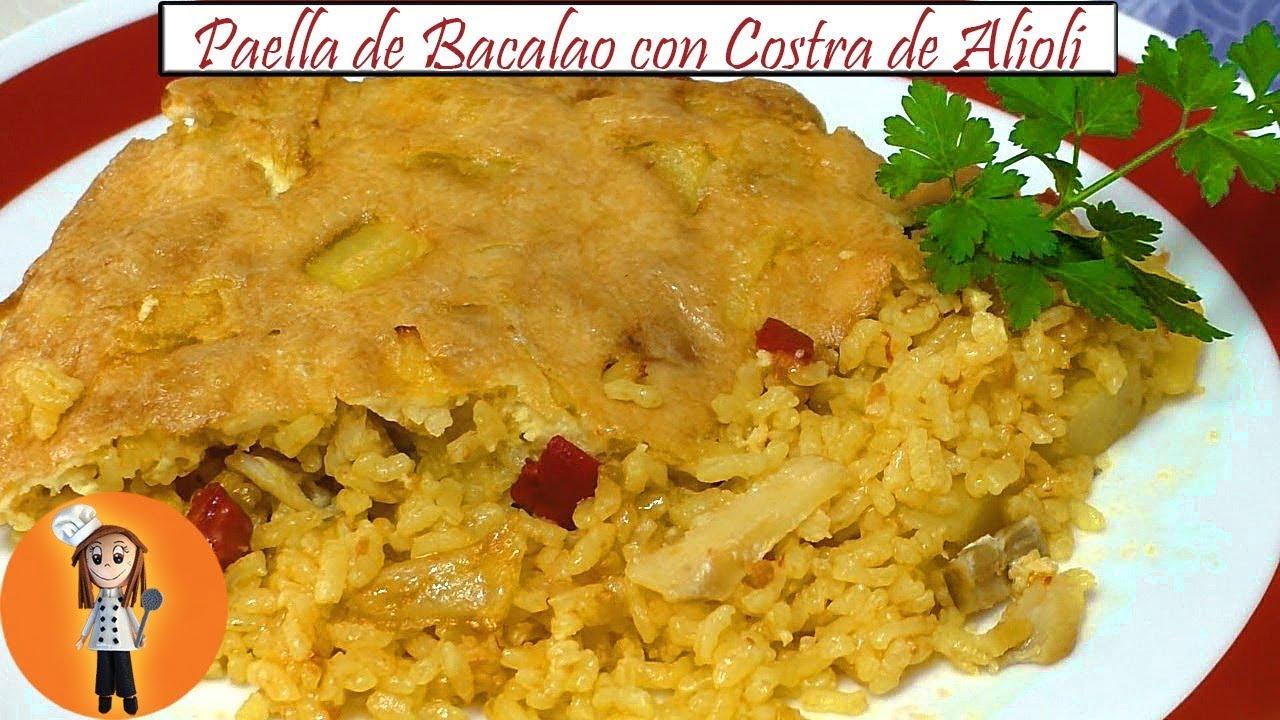 Paella de Bacalao con Costra de Alioli | Receta de Cocina en Familia