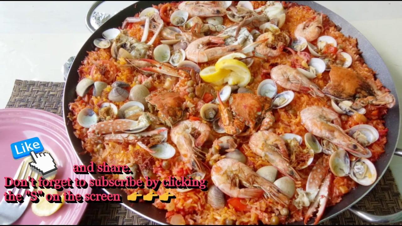 Paella de mariscos Paella sin azafrán