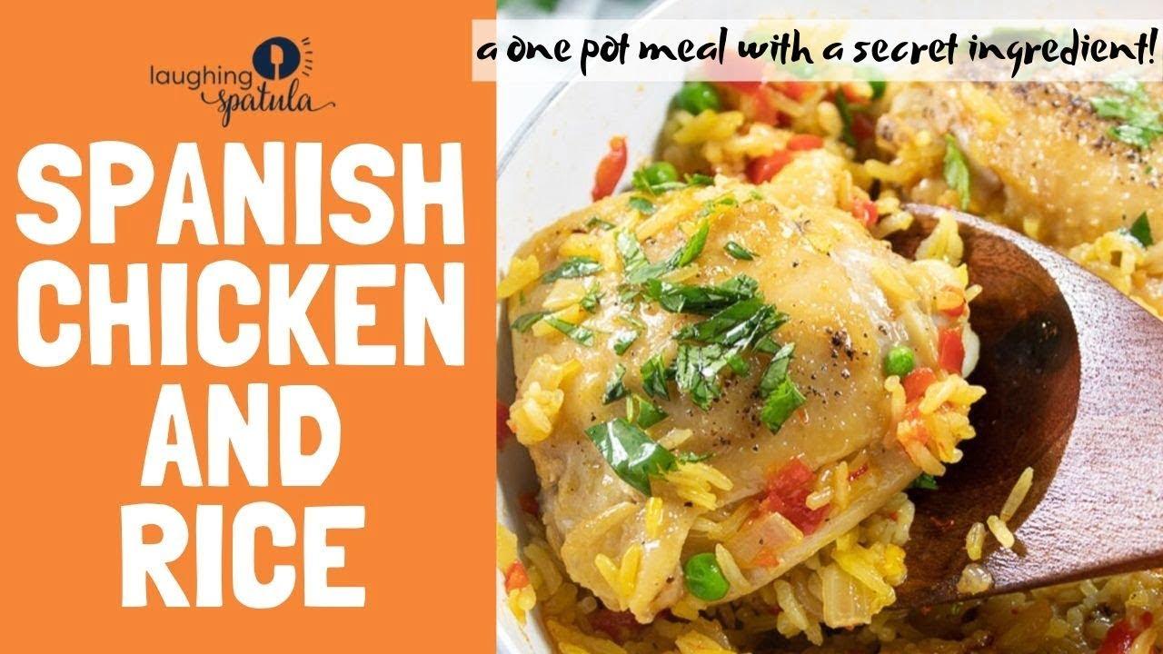 Pollo y arroz español ¡También conocido como Arroz con Pollo!