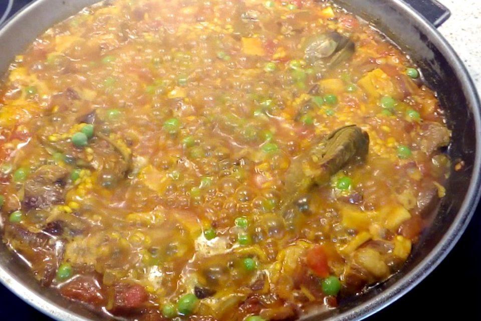 arroz en paella con secreto ibérico