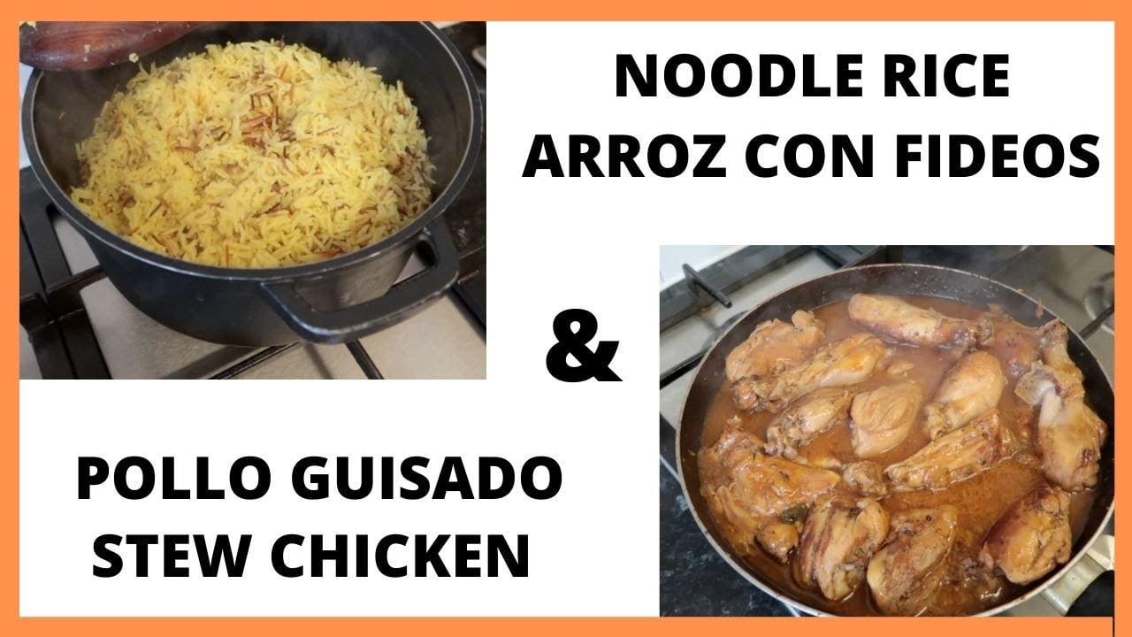 Arroz con fideos y pollo guisado   Noodle rice and chicken stew   COCINANDO CON MAMI