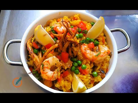Paella con frutos de mar