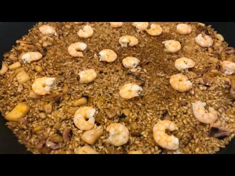 """Paella """"monocapa"""" de calamar y langostinos"""