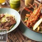 Rib Eye Steak Pasta y Mariscos Paella    Después de Eid Hangout en The Grove Bistro con DhakaSlurps