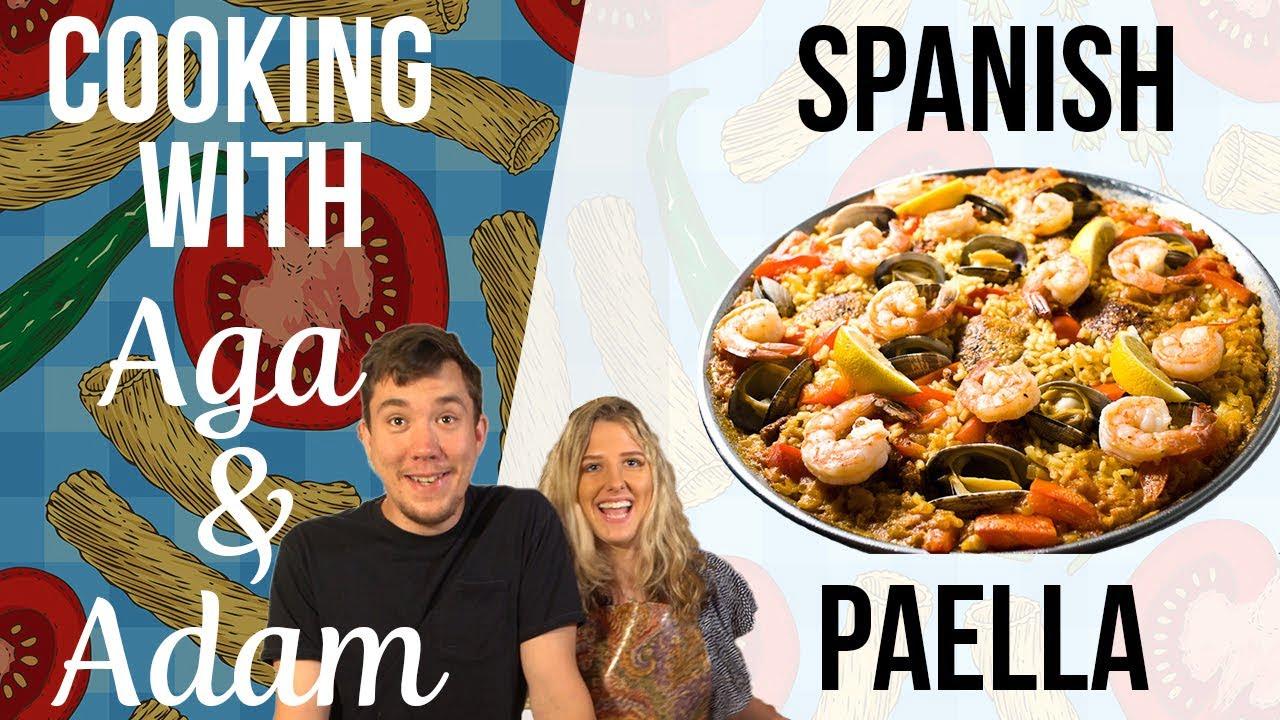 ¡La mejor cena de mariscos que hemos hecho!  El    Paella española    Cocinando con Aga y Adam    Wee Do Bite