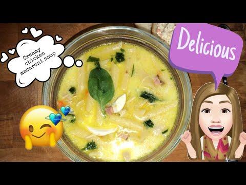 Cómo hacer una sopa cremosa de macarrones con pollo (sopas en tagalo)