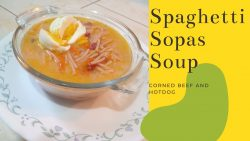Sopas de espagueti rápidas y fáciles con carne en lata y Hot Dog