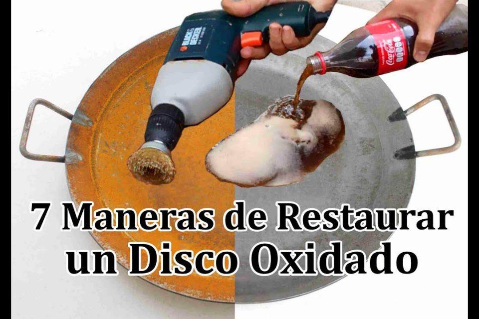 Cómo quitar el óxido de un disco, paella o comal de acero con herramientas y algunos ingredientes.