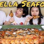 Paella de mariscos al estilo filipino |  Mariscos |  ¡Pollo frito crujiente Pinoy Mukbang!