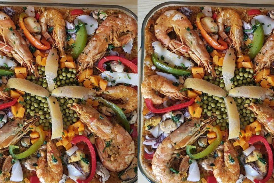 Paella española Bahía # sencilla # Española con arroz y mariscos método # preparación suave y fácil delicioso apetito #