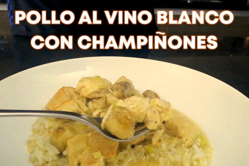 Pollo al vino blanco con champiñones
