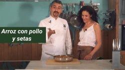 Arroz con pollo y champiñones al horno