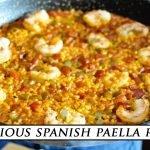 PAELLA ESPAÑOLA Sencilla con Camarones y Pimientos