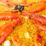 Paella con Bogavante.  Paella with lobster