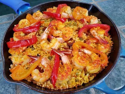 """Paella SSS """"Paella Sencilla De Chorizo Y Camarones"""""""
