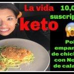 RECETA PARA BAJAR DE PESO| POLLO CUBIERTO CON CHICHARRON Y NOODLES DE CALABAZA| DIETA KETO