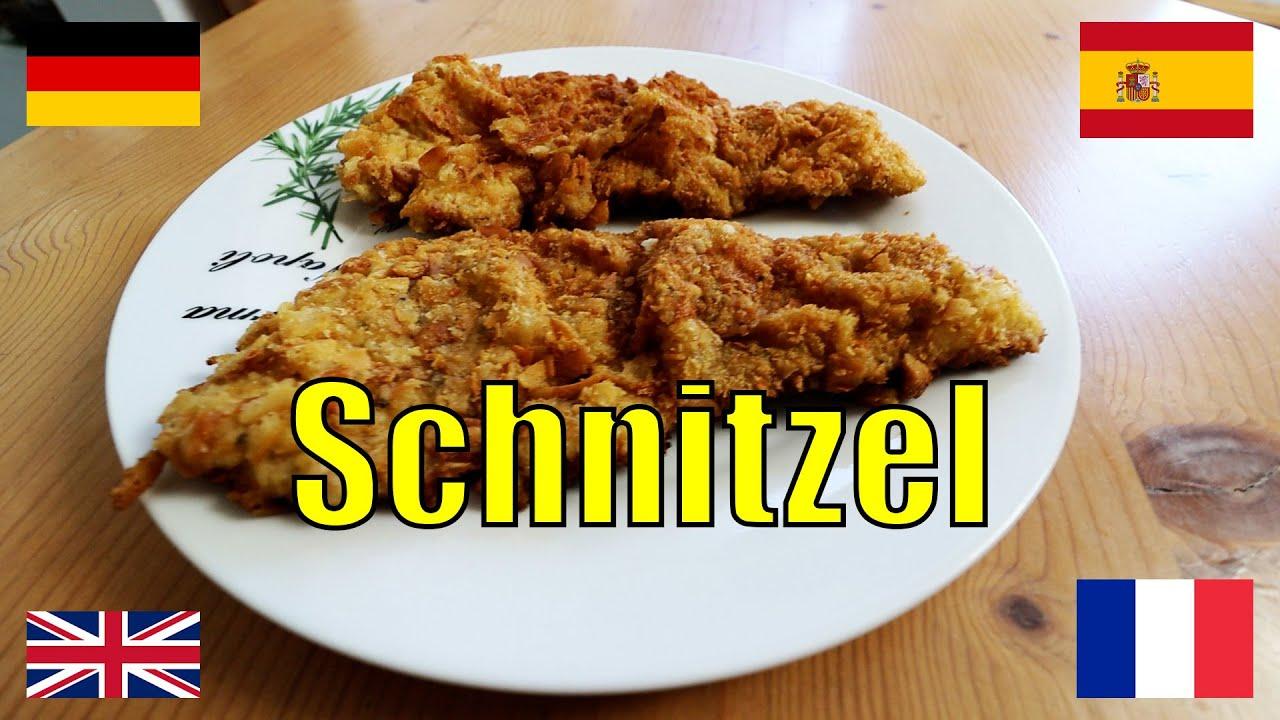 Aprende alemán y a cocinar: Schnitzel empanado #recetas #cocina #escalope #milanesa #milanga