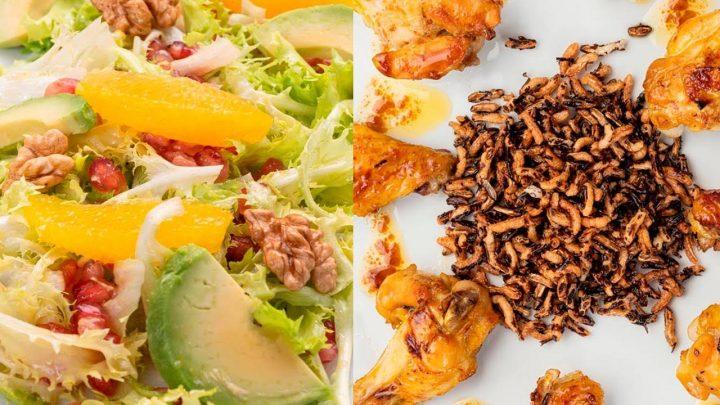 Ensalada de aguacate, naranja y granada - Alitas de pollo agridulces con arroz crujiente