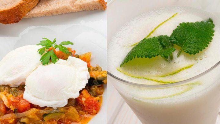 Huevos escalfados con pisto - Sorbete de limón al txakoli - Cocina Abierta de Karlos Arguiñano