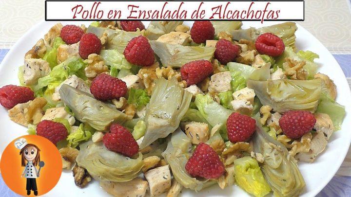 Pollo en Ensalada de Alcachofas y Nueces   Receta de Cocina en Familia
