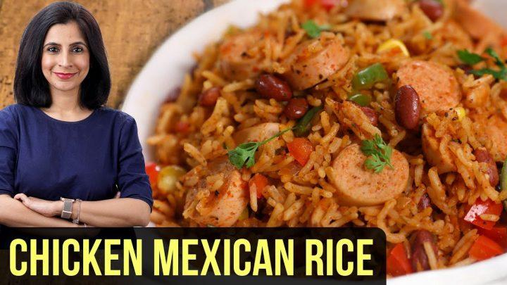 Receta mexicana de arroz con pollo |  Cómo hacer arroz mexicano |  Arroz Con Pollo |  Comida en una olla de Tarika